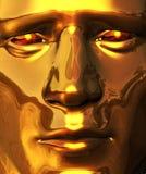 Visage d'or avec le regard fixe de perforation Photo libre de droits