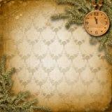 Visage d'horloge antique avec et sapin Images stock