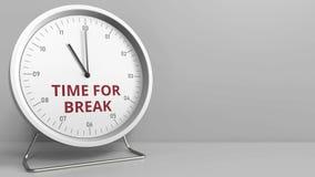 Visage d'horloge avec de l'HEURE de indication POUR le texte de COUPURE Animation conceptuelle illustration libre de droits
