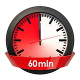 Visage d'horloge avec la minuterie de 60 minutes rendu 3d illustration libre de droits