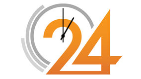 Visage d'horloge 24 comptant vers le bas illustration stock