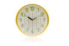 Visage d'horloge de billets d'un dollar d'isolement sur le blanc Photo stock