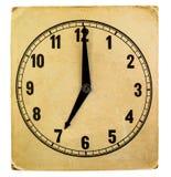 Visage d'horloge de papier superficiel par les agents par vintage 7h du matin Photo stock