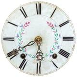 Visage d'horloge du 18ème siècle authentique avec la décoration de fleur Photo libre de droits