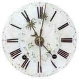 Visage d'horloge du 18ème siècle authentique avec la décoration de fleur Image libre de droits