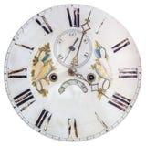 Visage d'horloge du 18ème siècle authentique avec la décoration peinte Images stock