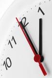Visage d'horloge montrant la pause de midi ou le temps de travail Photos stock