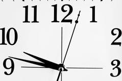 visage d'horloge noir et blanc Photographie stock