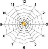 Visage d'horloge simple de toile d'araignée avec l'araignée d'or Photos libres de droits