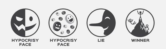 Visage d'hypocrisie, mensonge et icône de gagnant Concept d'affaires illustration stock