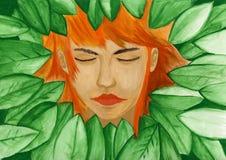 Visage d'imagination d'humain dans des feuilles vertes photos libres de droits