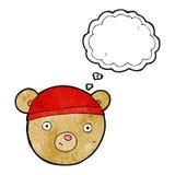 visage d'ours de nounours de bande dessinée avec la bulle de pensée Photo libre de droits