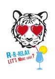 Visage d'un tigre avec des verres d'amour Illustration Libre de Droits