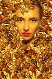 Visage d'une belle fille avec les feuilles d'or Image libre de droits