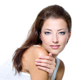 Visage d'une belle jeune femme sexy Photos stock