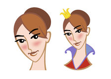 Visage d'une jeune fille et d'une princesse Image stock