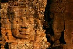 Visage dans le temple de Bayon, Angkor photo libre de droits