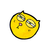 visage de chat de bande dessinée avec les yeux rétrécis Images libres de droits
