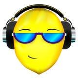 Visage de citron dans des écouteurs Photo libre de droits