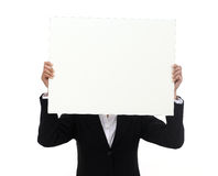 Visage de couverture de femme d'affaires avec le panneau d'affichage photos libres de droits