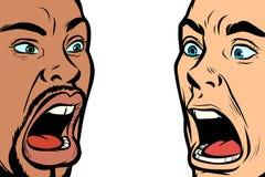Visage de cri perçant d'homme Gens africains et caucasiens illustration de vecteur