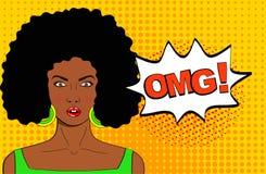 Visage de femelle d'art de bruit de wow Jeune femme africaine étonnée sexy avec illustration de vecteur