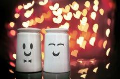 Visage de femelle et de masculin dans des dispositifs trembleurs de sel et de poivre avec le coeur BO Images stock
