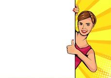 Visage de femelle de wow Jeune femme sexy près de conseil vide pour votre offre illustration stock