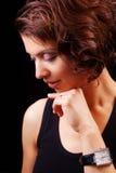 Visage de femme âgée moyenne gracieuse sensuelle Photos stock