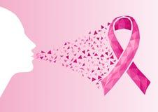 Visage de femme de transparent de ruban de conscience de cancer du sein. illustration libre de droits