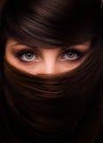 Visage de femme et de cheveu Photo stock