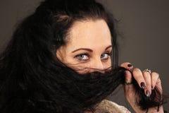 Visage de femme et plan rapproché de yeux Photographie stock