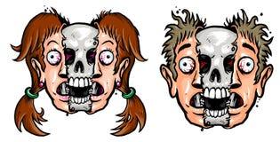 Visage de fille et de garçon avec le crâne Illustration Stock