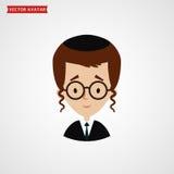 Visage de garçon de juif Avatar mignon de vecteur illustration libre de droits