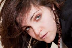 Visage de jeune femme de plan rapproché Images libres de droits
