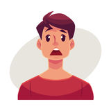 Visage de jeune homme, expression du visage étonnée Photographie stock libre de droits