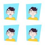 Visage de jeune homme réglé avec différentes expressions Guy Emotions Collection Illustration de Vecteur