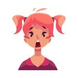 Visage de l'adolescence de fille, expression du visage étonnée Image stock