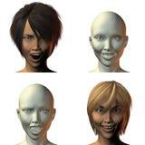 visage de la fille 3D avec émotion illustration de vecteur
