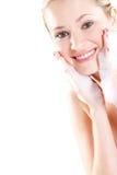 Visage de lavage de femme Photographie stock libre de droits