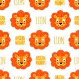 Visage de lion avec le lettrage sur un fond blanc d'isolement Image libre de droits