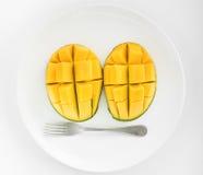 Visage de mangue d'un plat Photo stock