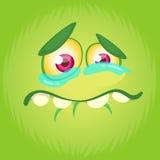 Visage de monstre de bande dessinée Avatar heureux de place de monstre de Halloween de vecteur Masque drôle de monstre images stock