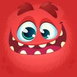 Visage de monstre de bande dessinée Dirigez l'avatar rouge de monstre de Halloween avec le sourire large Photo stock