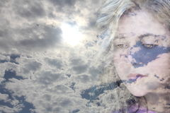 Visage de nuages Images libres de droits