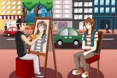 Visage de personnes de dessin de peintre de rue Photo stock