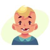 Visage de petit garçon, expression du visage de sourire Photographie stock