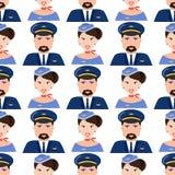 Visage de pilote et d'hôtesse dans sans couture professionnel propre d'aéroport de caractère de vol d'avion de personnes uniforme Images stock