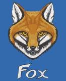 Visage de renard d'aquarelle sur un fond bleu Avec le renard d'inscription Photo stock