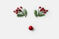 Visage de renne fait de décorations de Noël, baies de houx et branches de pin Concept minimal Configuration plate image stock